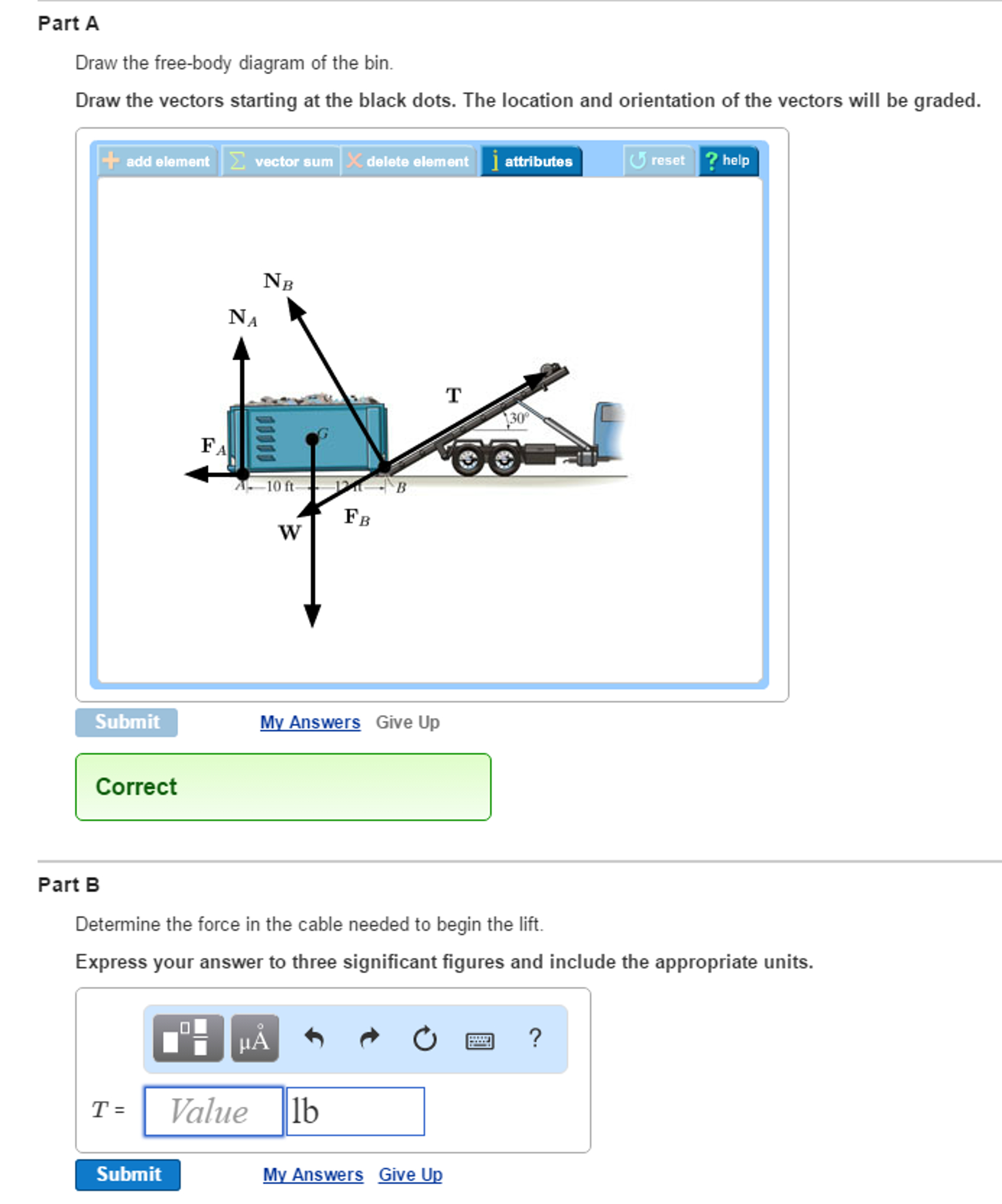 Free Body Diagram Solved Draw The Free Body Diagram Of The Bin Draw The Ve