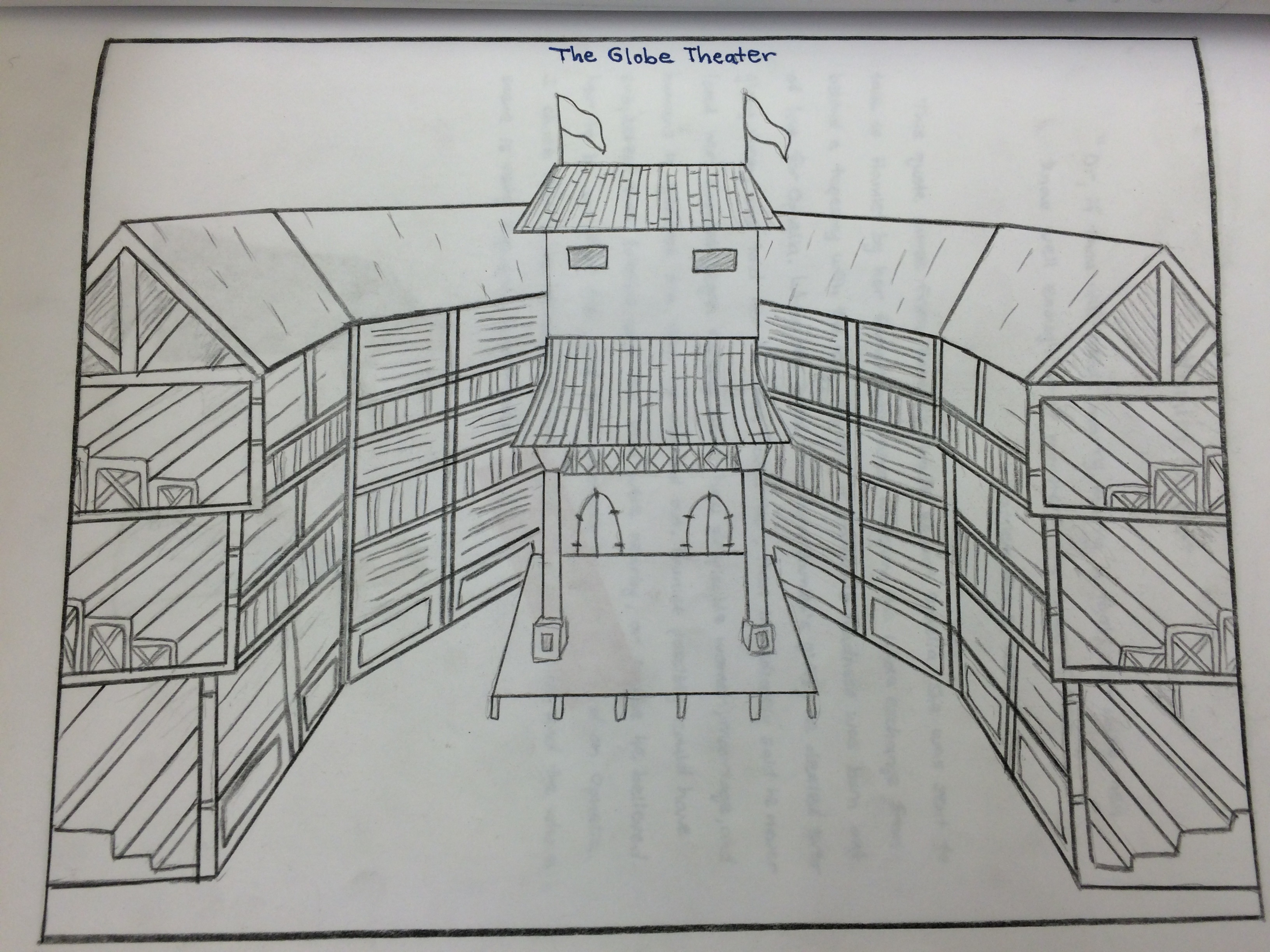 Globe Theatre Diagram Globe Theatre Sketch At Paintingvalley Explore Collection Of