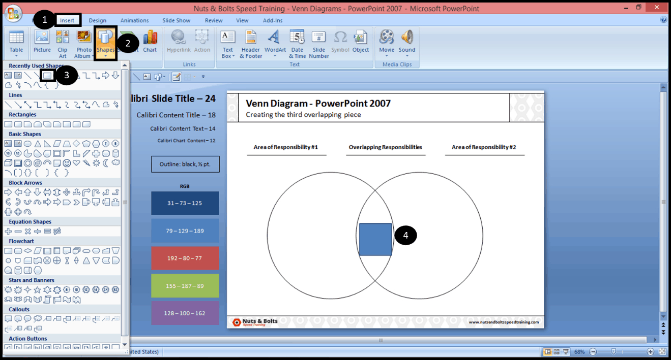How To Make A Venn Diagram On Word How To Format The Overlapping Circles Of A Venn Diagram Step Step