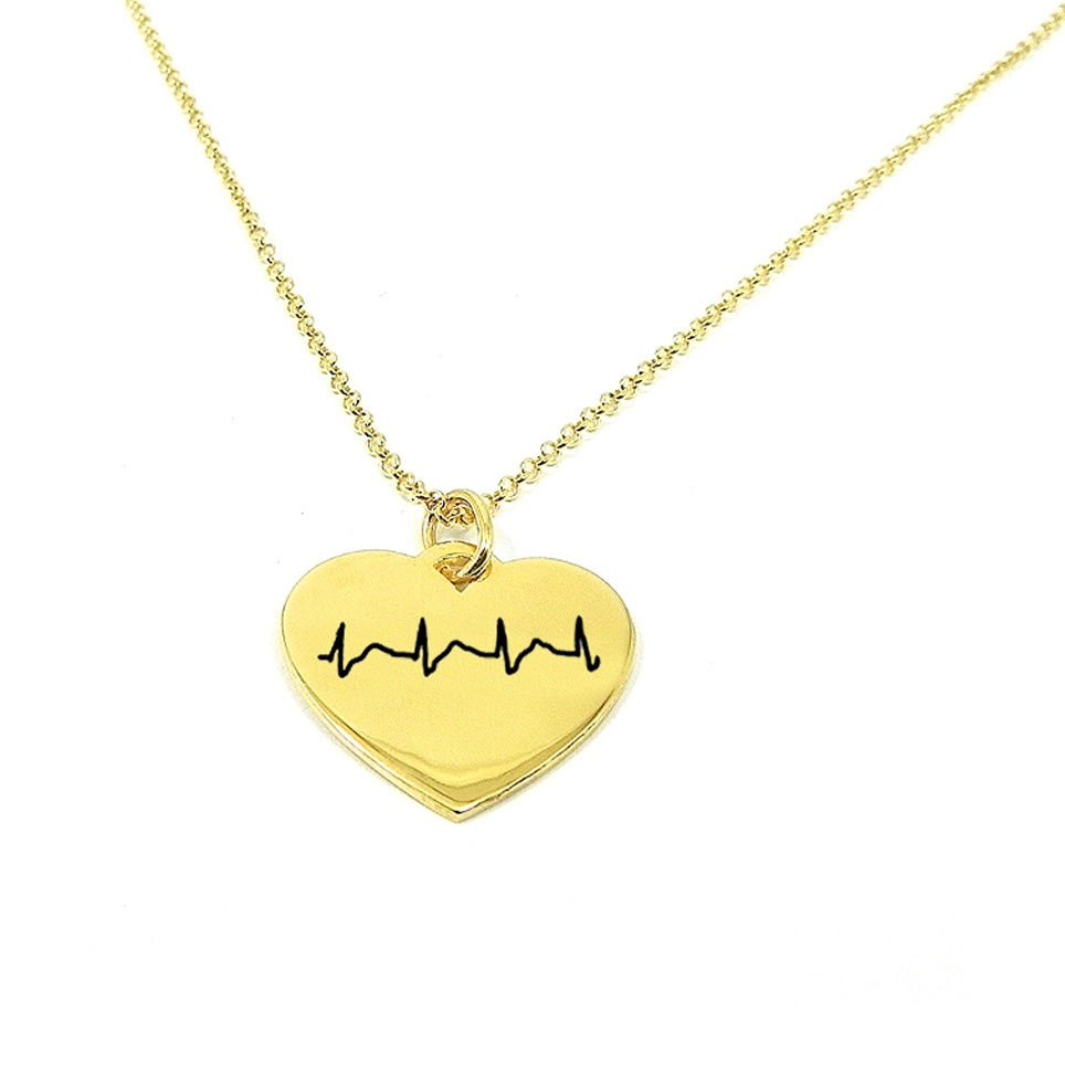Necklace Length Diagram Necklace With Your Heartbeat Diagram Engraved On A Heart