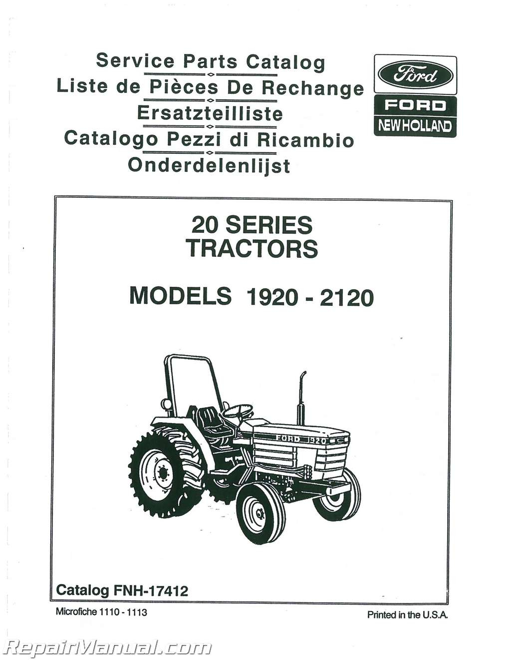 New Holland Skid Steer Parts Diagram Ford 1920 2120 Tractor Parts Manual