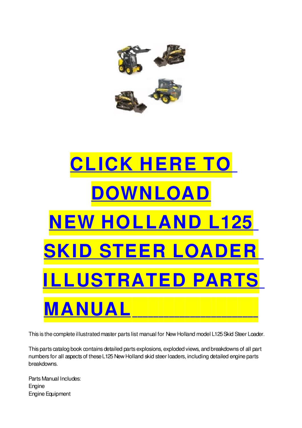 New Holland Skid Steer Parts Diagram New Holland L125 Skid Steer Loader Illustrated Parts Manual Cycle