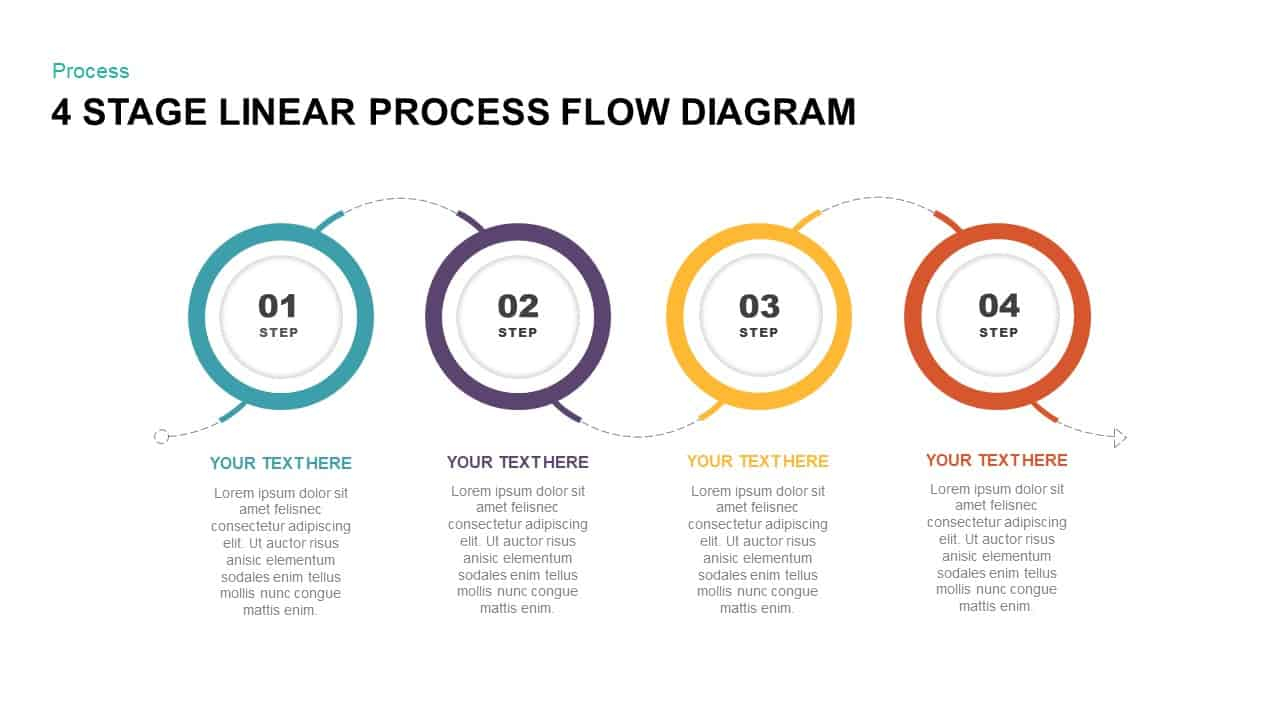 Process Flow Diagram 4 Stage Linear Process Flow Diagram Powerpoint Template Slidebazaar