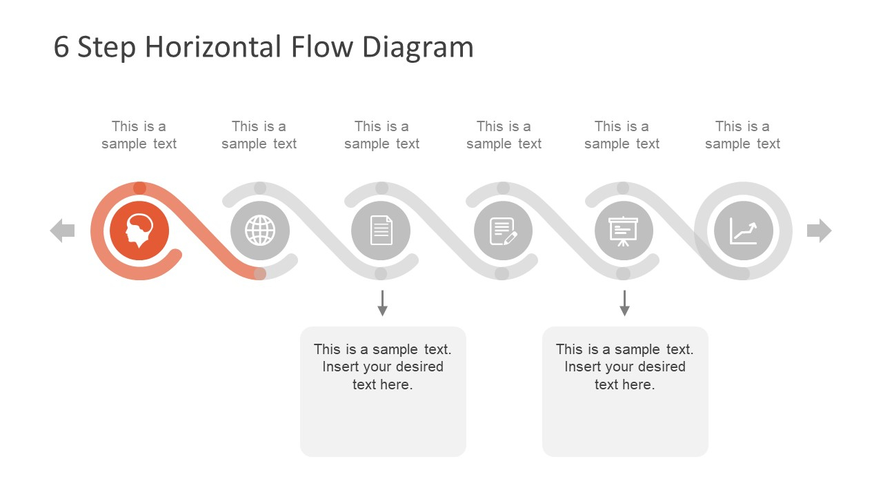 Process Flow Diagram 6 Step Horizontal Flow Diagram For Powerpoint