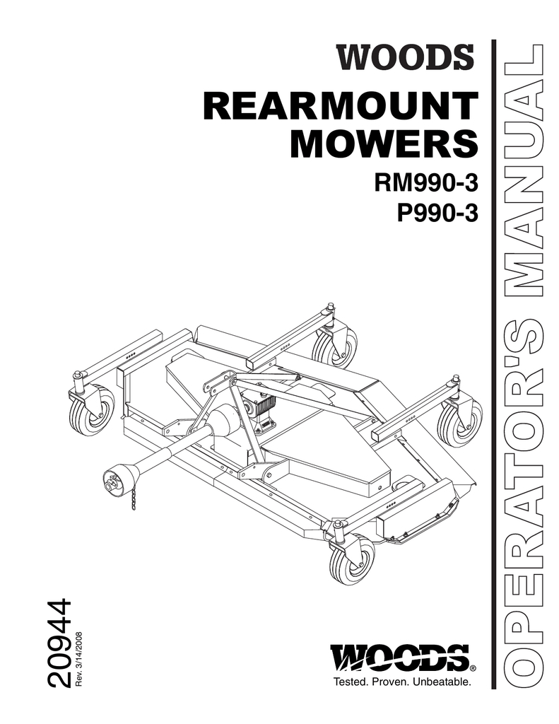 Woods Mower Parts Diagrams Operators And Parts Manual For The Woods Rm990 Finish Mower