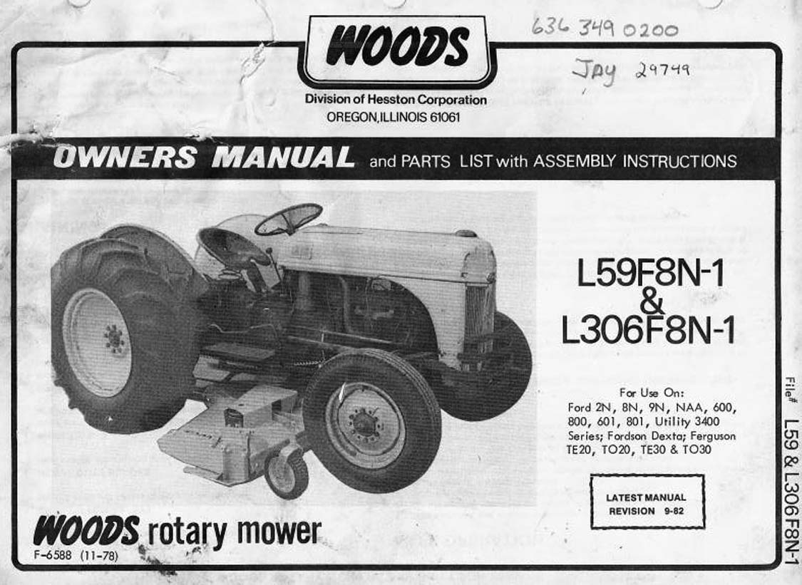 Woods Mower Parts Diagrams Woods Rotary Mower L59f8n 1 L306f8n 1 Owners Manual