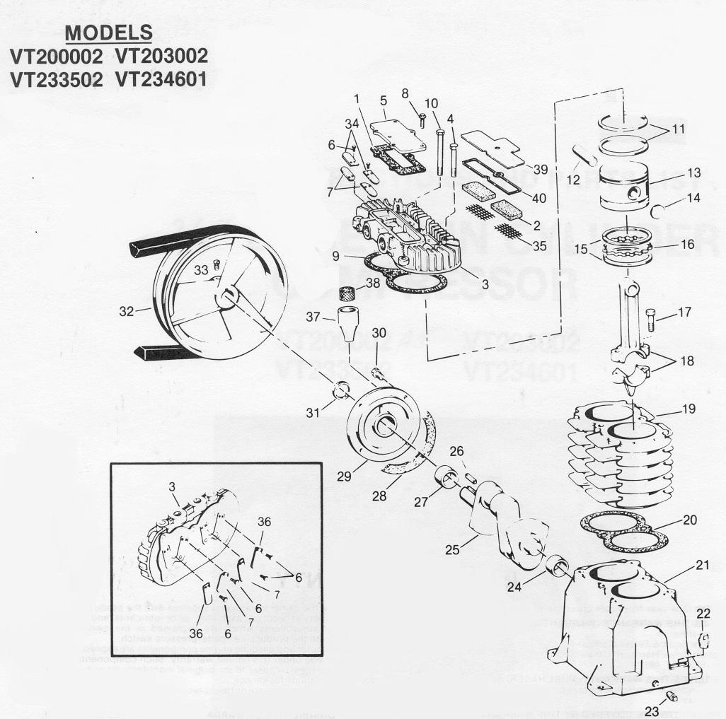 Campbell Hausfeld Air Compressor Parts Diagram Craftsman Rebuild Kit Sears Model 106154581 106154681 106154781 2 34 Bore