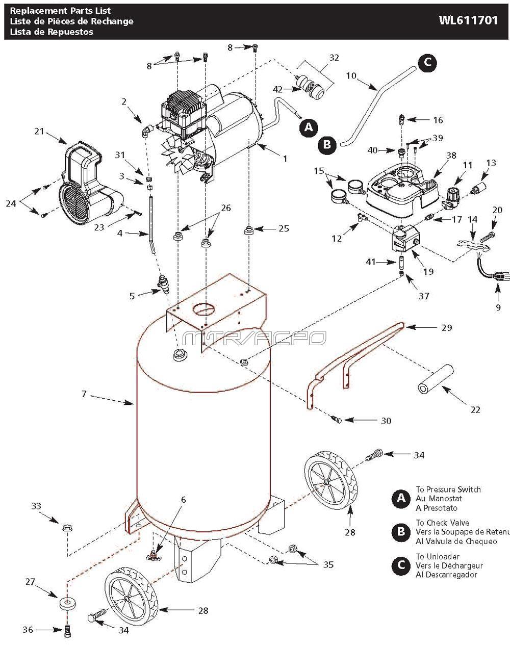 Campbell Hausfeld Air Compressor Parts Diagram Repair Parts For The Campbell Hausfeld Model Wl611701 Portable Air