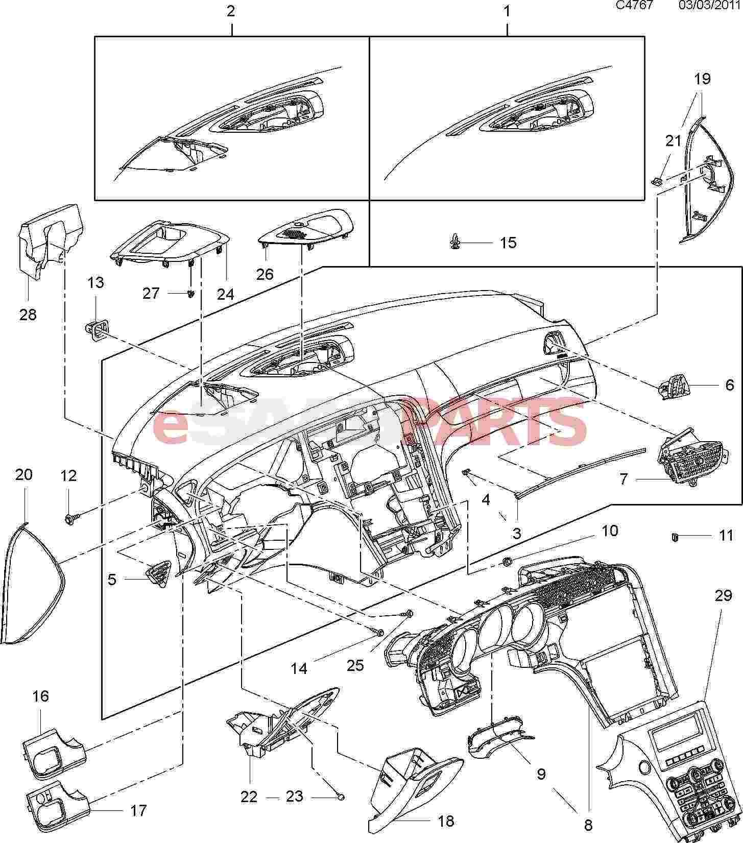 Car Dashboard Diagram Esaabparts Saab 9 5 650 Car Body Internal Parts