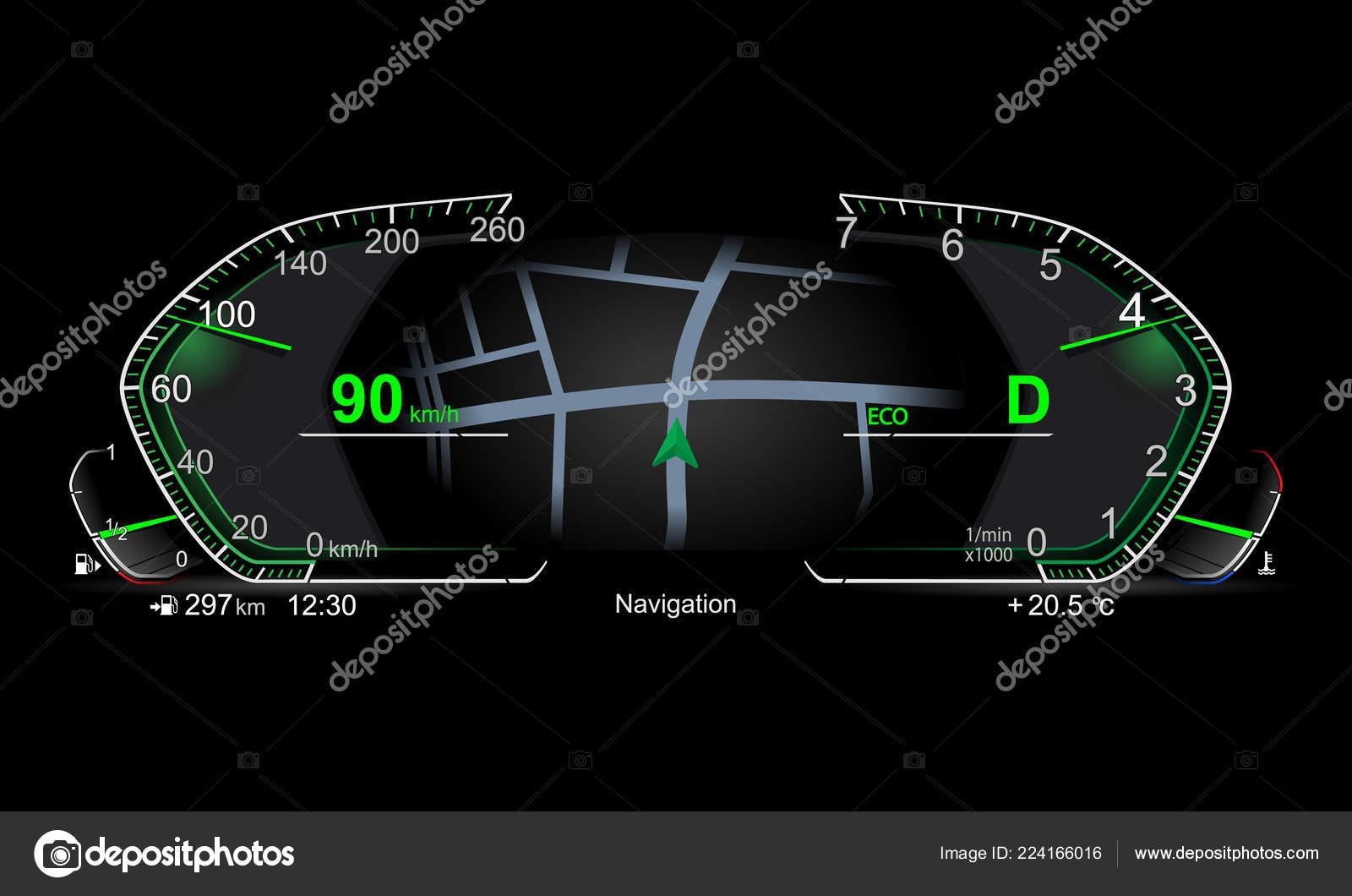 Car Dashboard Diagram Realistic Electronic Car Dashboard Stock Vector Chel11 224166016