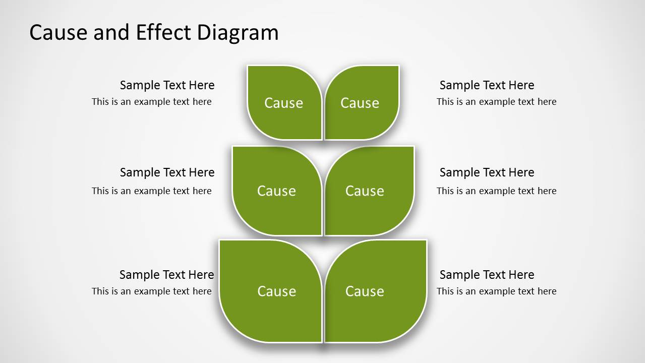 Cause And Effect Diagram Green Cause Effect Diagram For Powerpoint