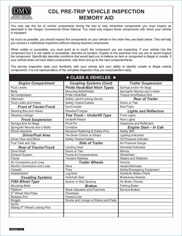 Cdl Pre Trip Inspection Diagram Pre Trip Inspection Checklist Sheet Practical School Van Pre Trip