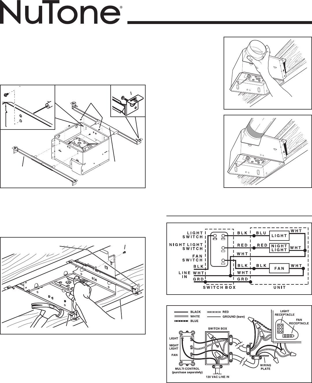 Ceiling Fan Wiring Diagram Wiring Nutone Bathroom Fan Today Diagram Database