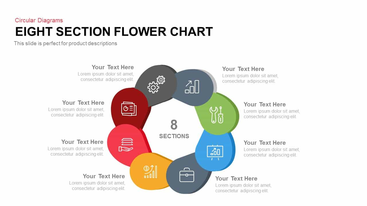 Diagram Of A Flower Eight Section Flower Chart Powerpoint Template Keynote Slidebazaar