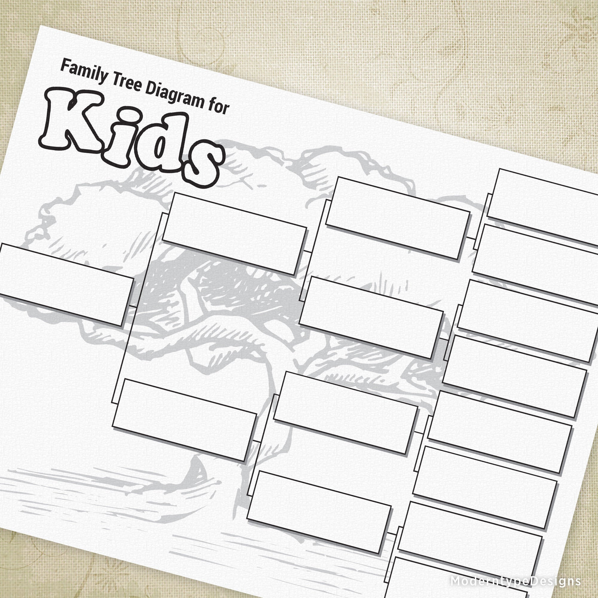 Family Tree Diagram Kids Family Tree Diagram Printable Family Tree Chart For Kids Ancestral Chart Genealogy Chart Digital File Instant Download Ftd002