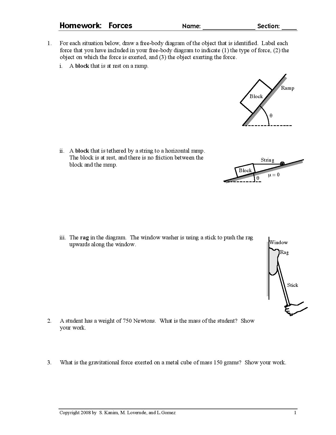 Free Body Diagrams Solved For Each Situation Below Draw A Free Body Diagram