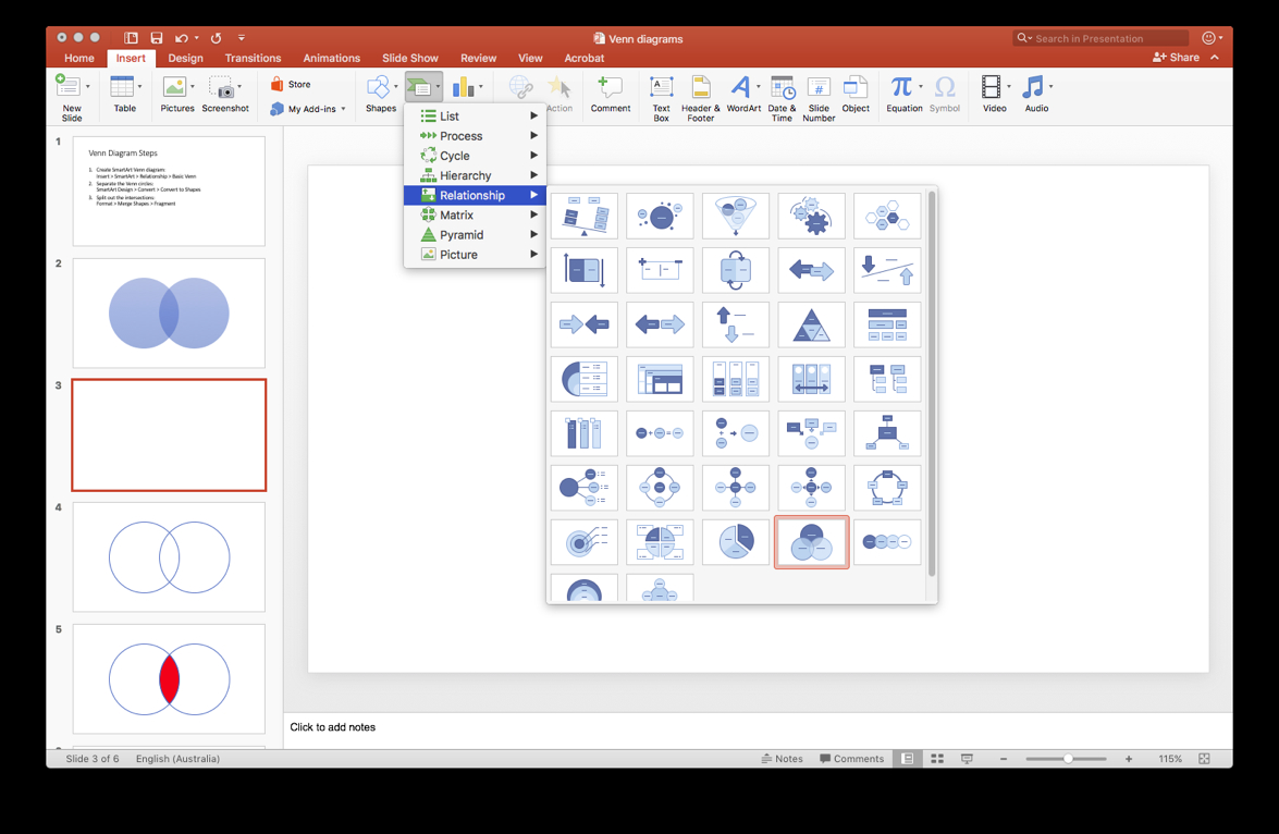 How To Create A Venn Diagram In Word How To Create A Venn Diagram With Independent Intersections In