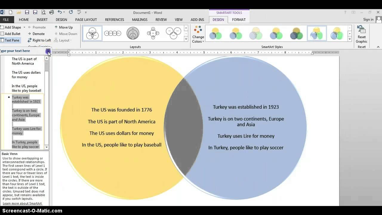 How To Create A Venn Diagram In Word Smart Art Venn Diagram