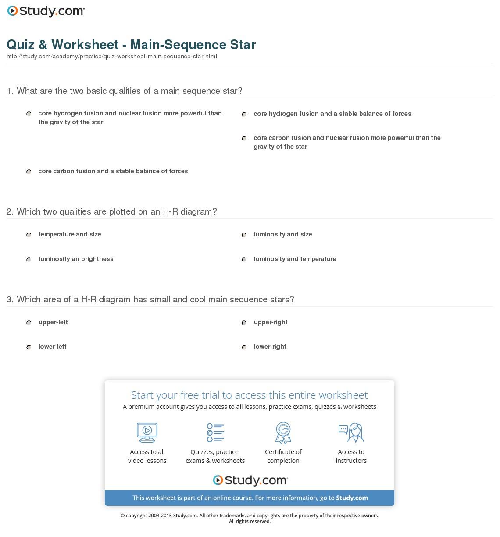 Hr Diagram Definition Quiz Worksheet Main Sequence Star Study