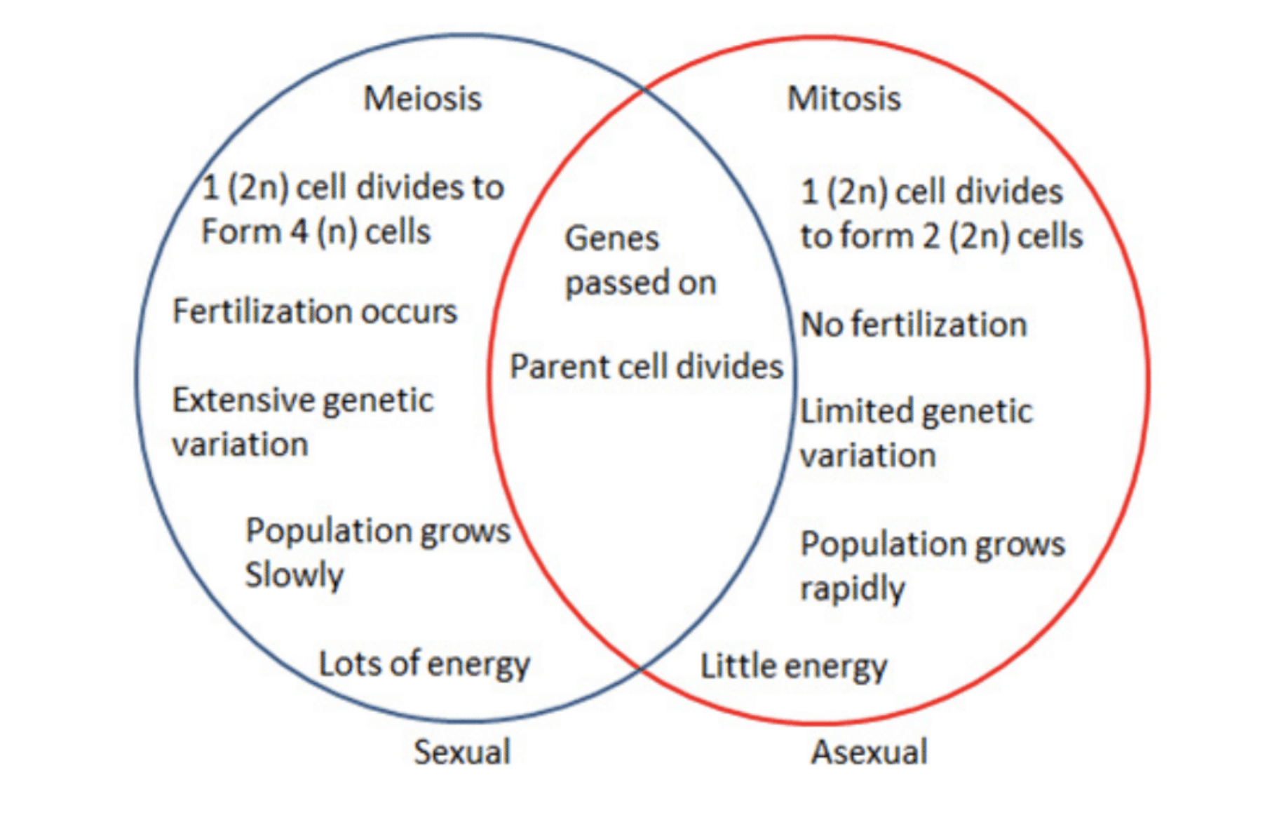 Mitosis Meiosis Venn Diagram Difference Between Sexual And Asexual Reproduction Difference Between