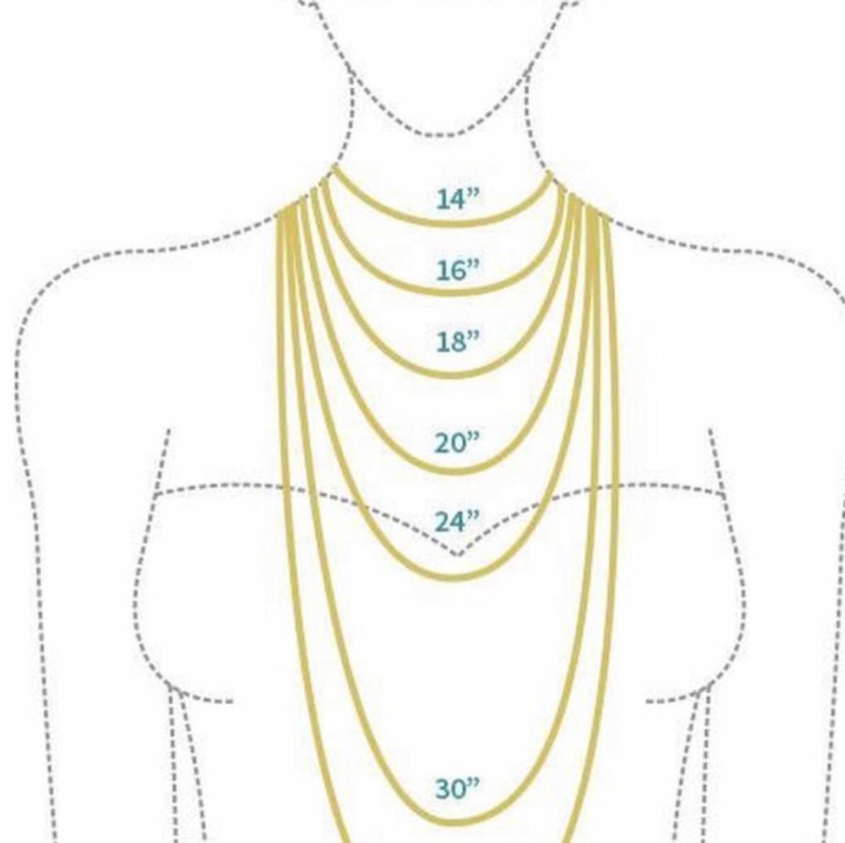 Necklace Length Diagram Customised Latter Rain Necklace