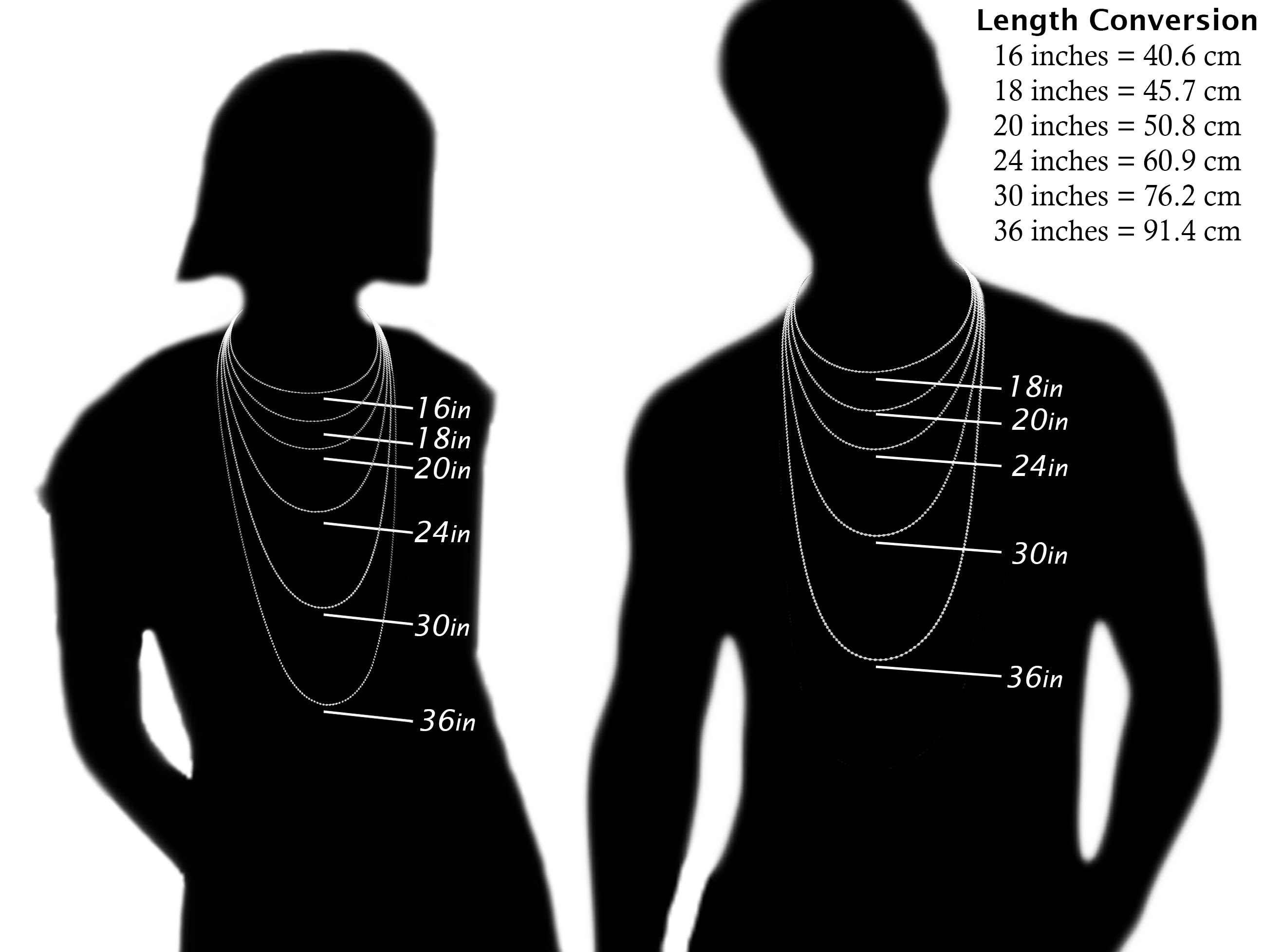 Necklace Length Diagram Size Guide Ounce Jewellery