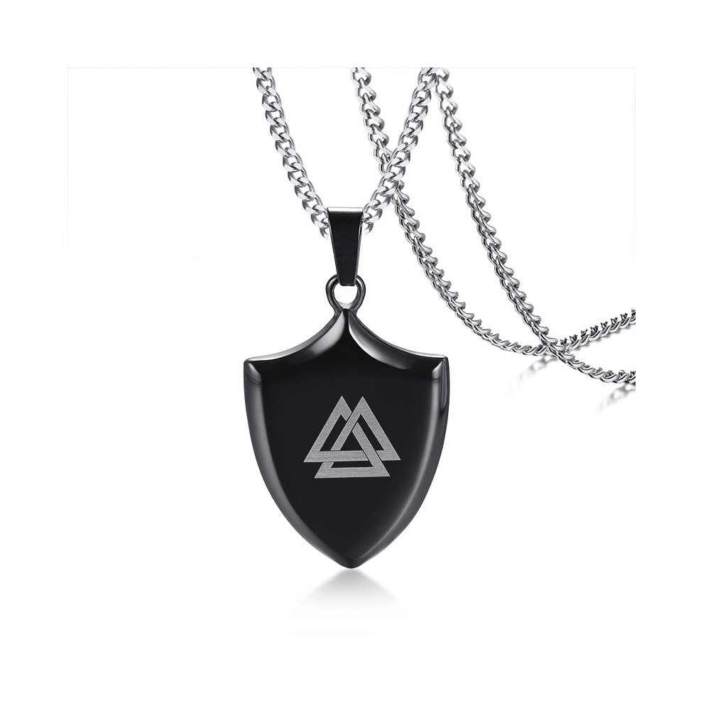 Necklace Length Diagram Stainless Steel Shield Necklace Cross Eight Diagrams Viking Battle Planetary Pendant