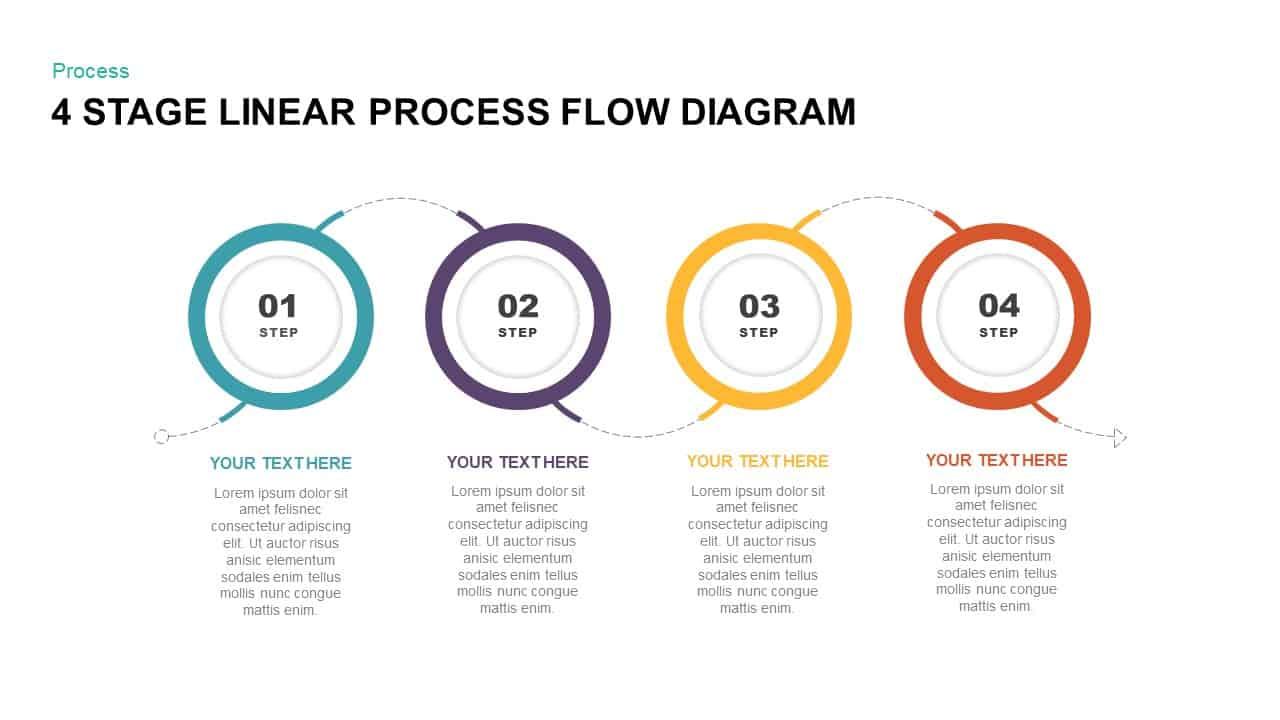 Process Flow Diagram 4 Stage Linear Process Flow Diagram Powerpoint Template Slidebazaar