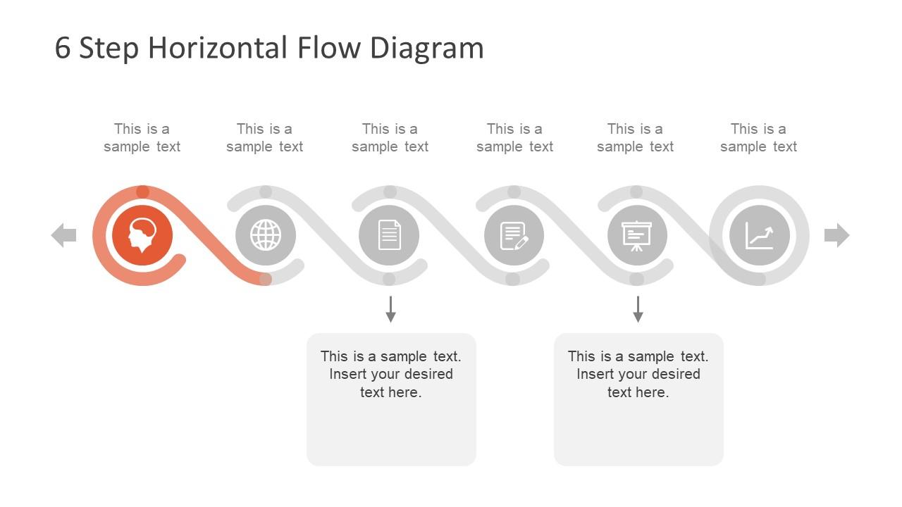 Process Flow Diagram 6 Step Horizontal Flow Diagram For Powerpoint
