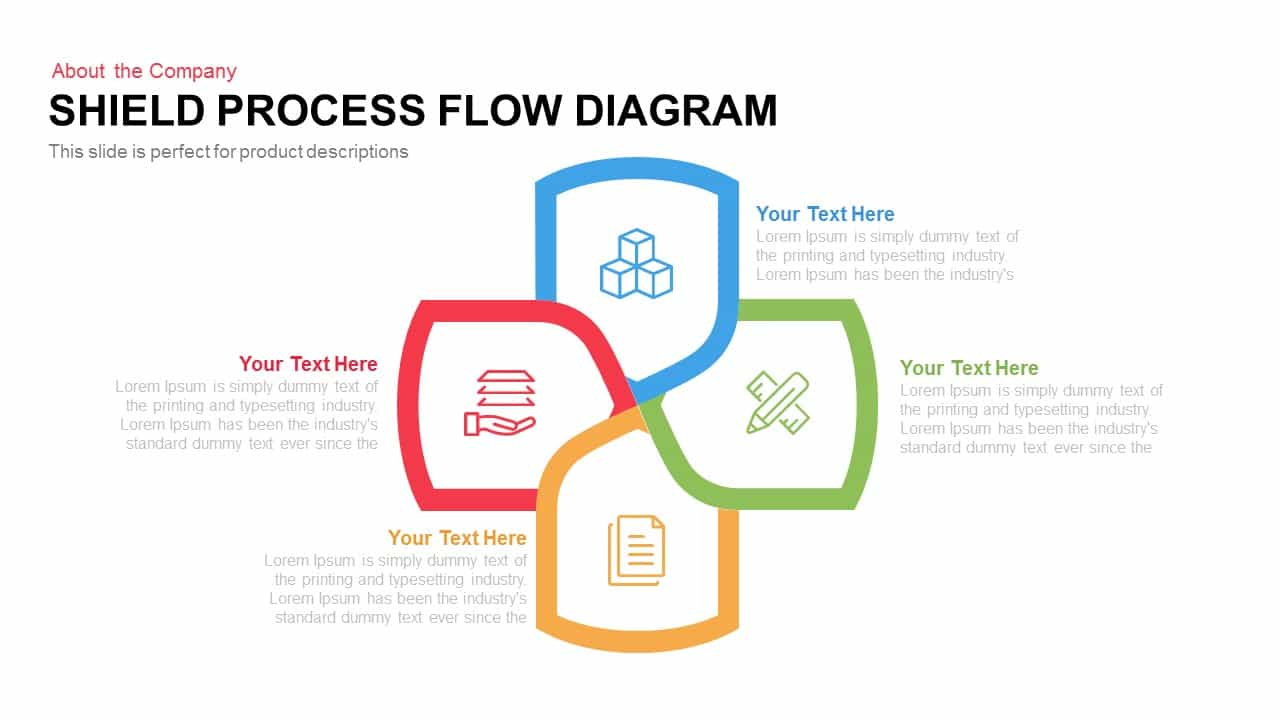 Process Flow Diagram Shield Process Flow Diagram Template For Powerpoint And Keynote