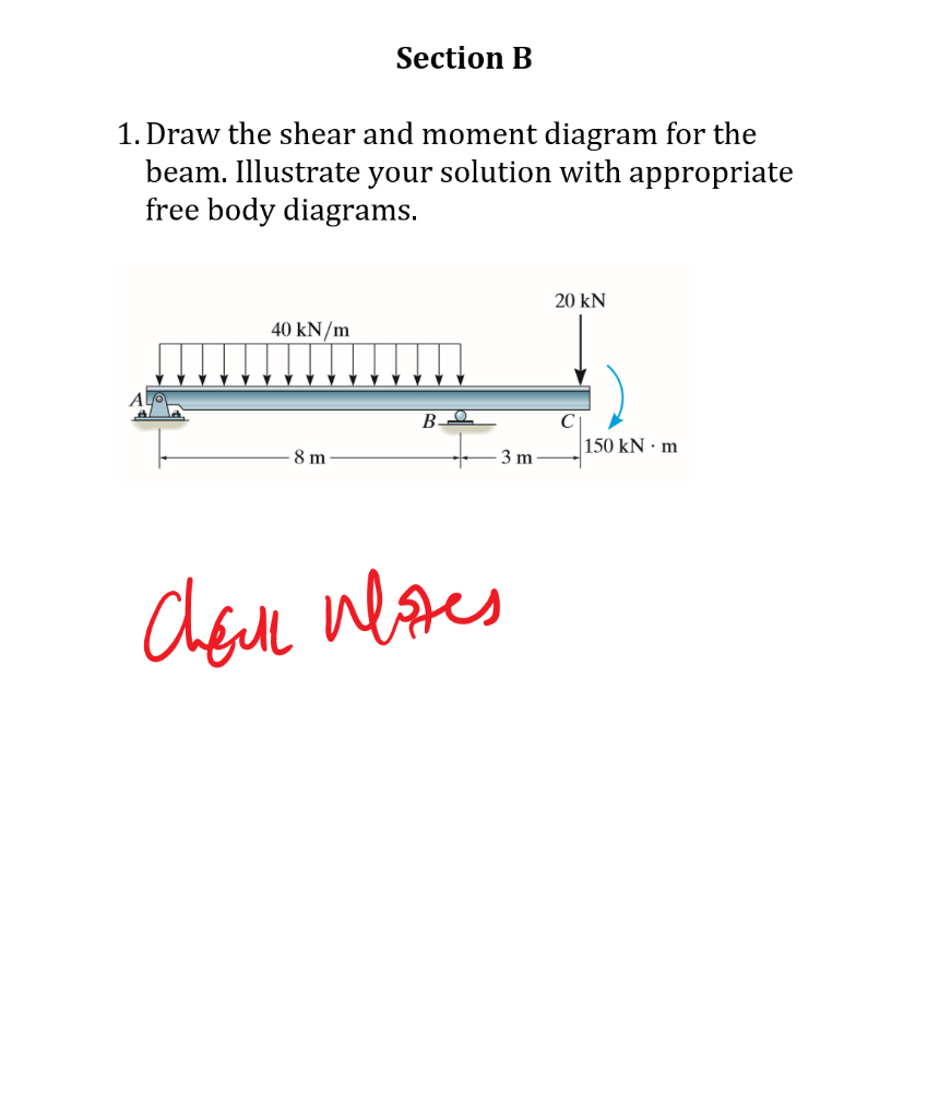 Shear And Moment Diagrams Solved Section B 1 Draw The Shear And Moment Diagram For