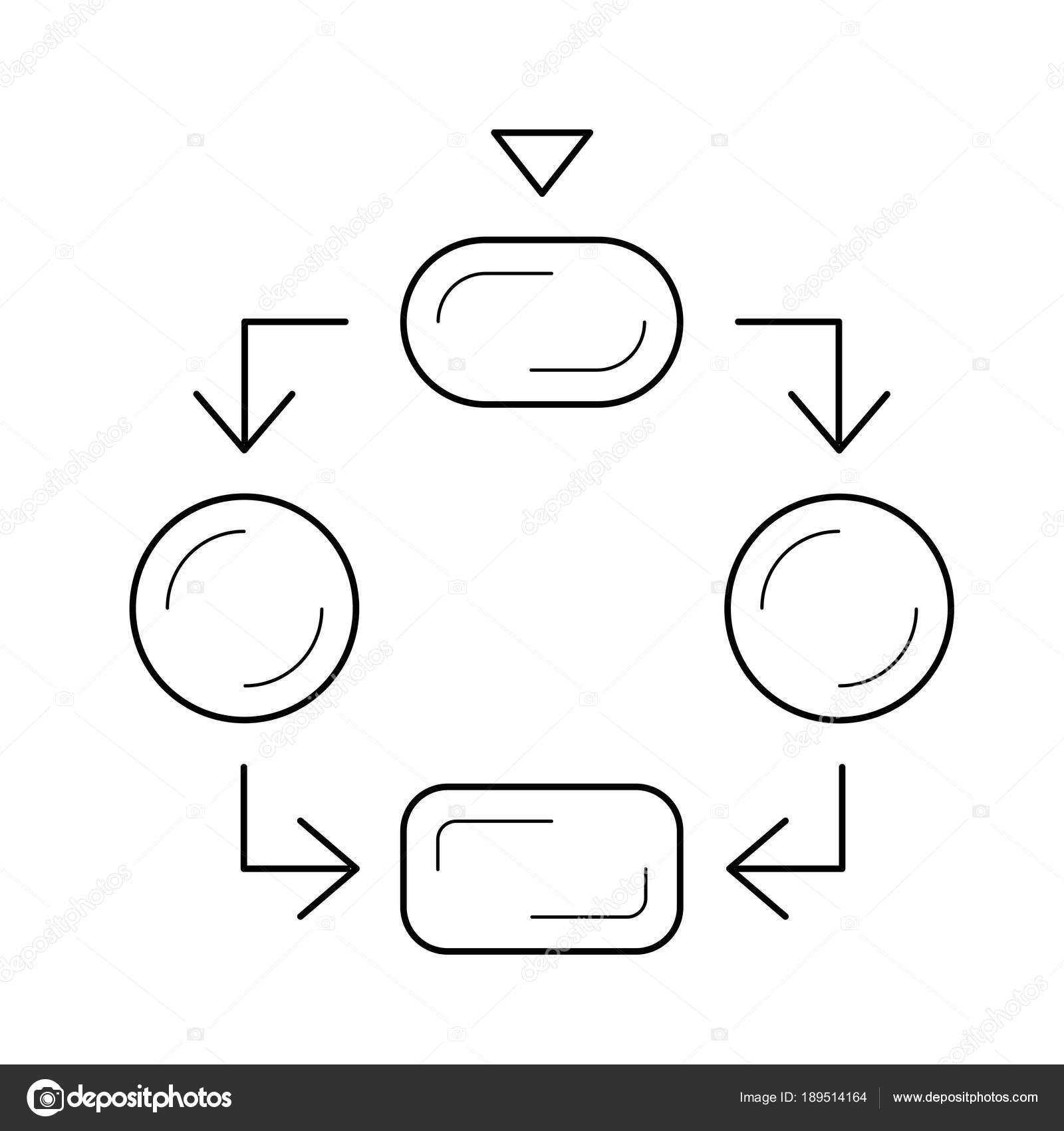 Stock And Flow Diagram Flow Diagram Line Icon Stock Vector Rastudio 189514164