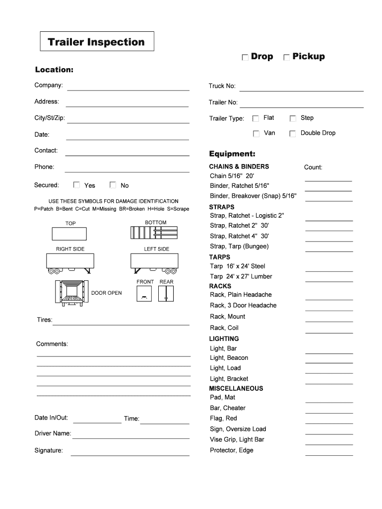 Tractor Trailer Pre Trip Inspection Diagram Trailer Inspection Form Fill Online Printable Fillable Blank