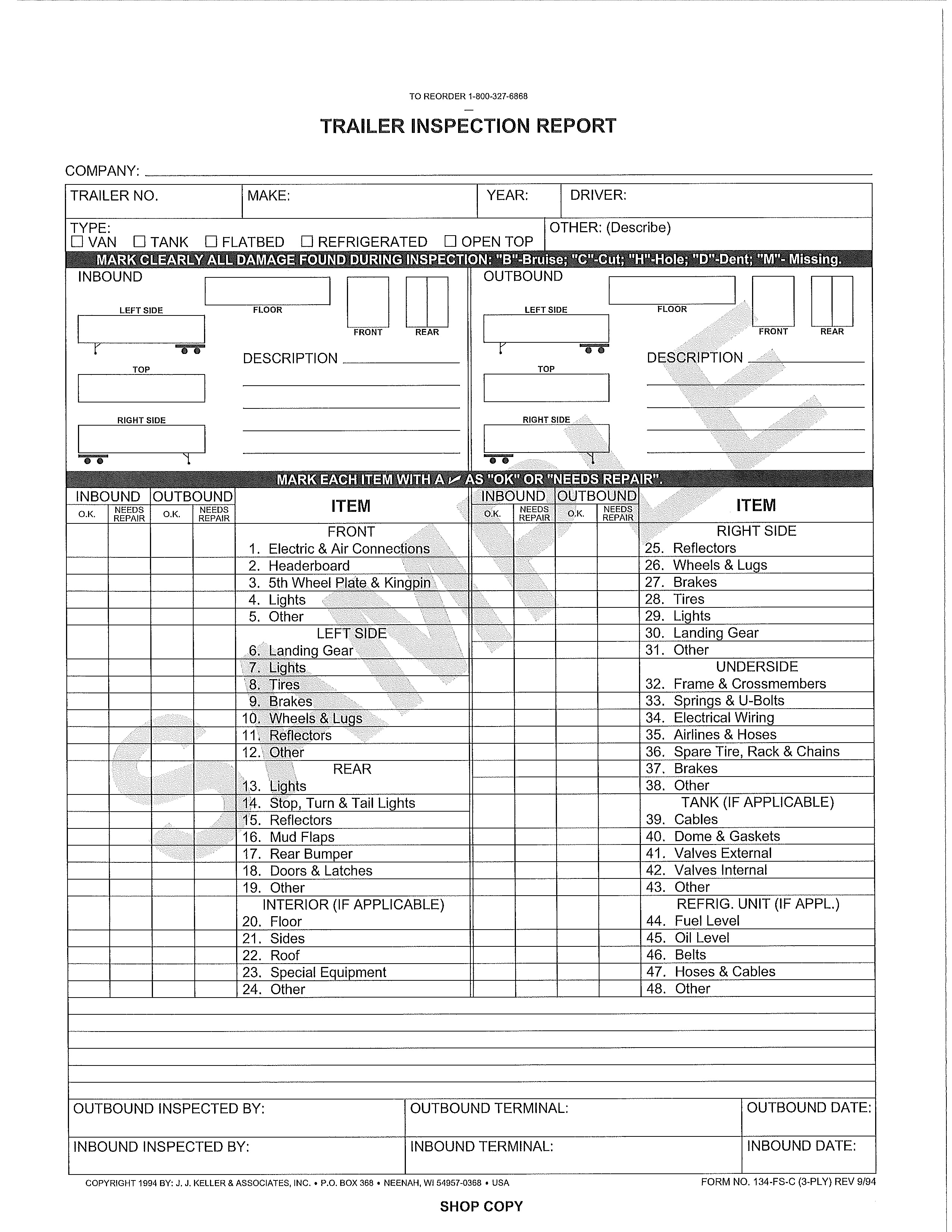Tractor Trailer Pre Trip Inspection Diagram Vehicle Check Sheet Template Free Erhayasamayolver