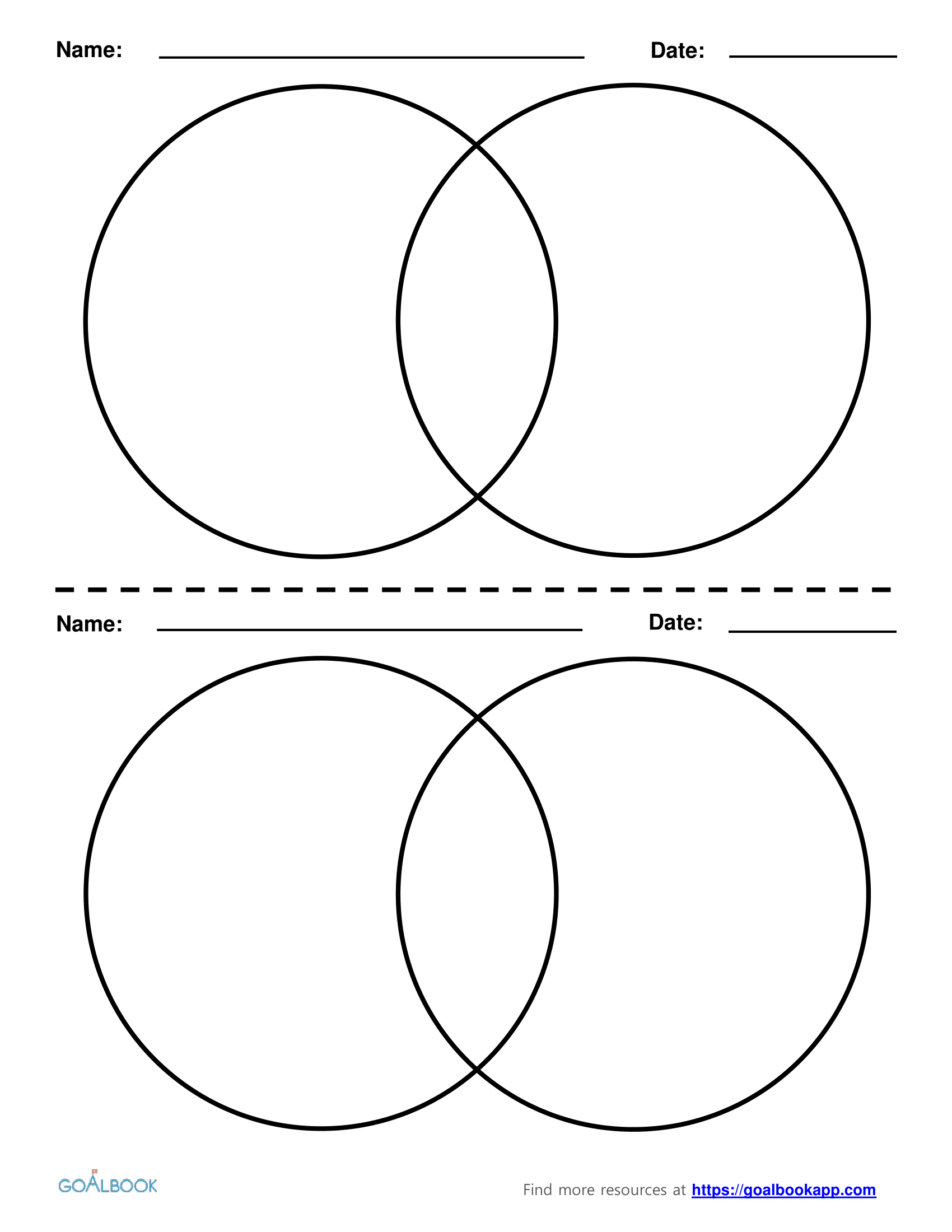 Venn Diagram Printable Printable Venn Diagram 2 Circles Download Them And Try To Solve