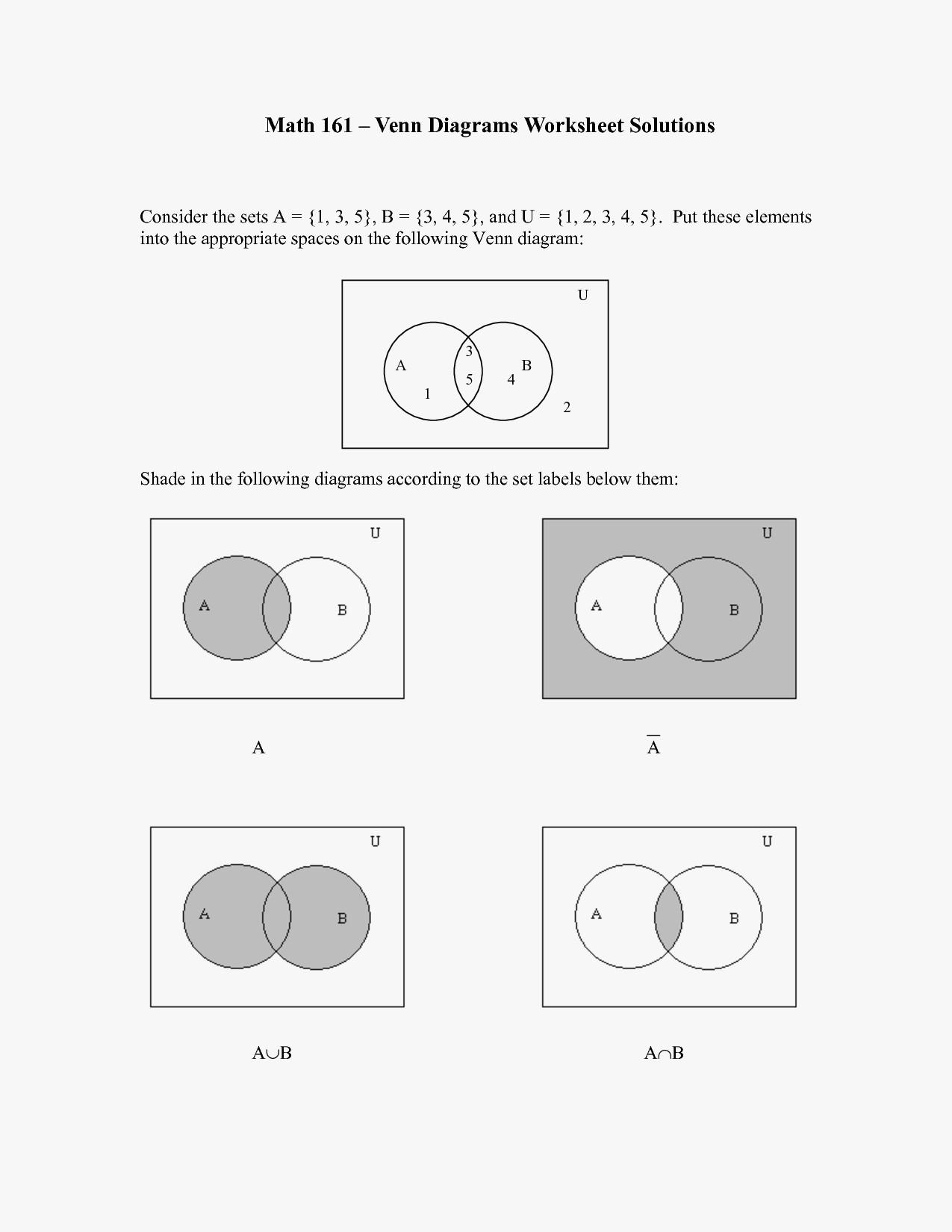 Venn Diagram Worksheet Basic Venn Diagrams Worksheets Elegant Math Sets Worksheets