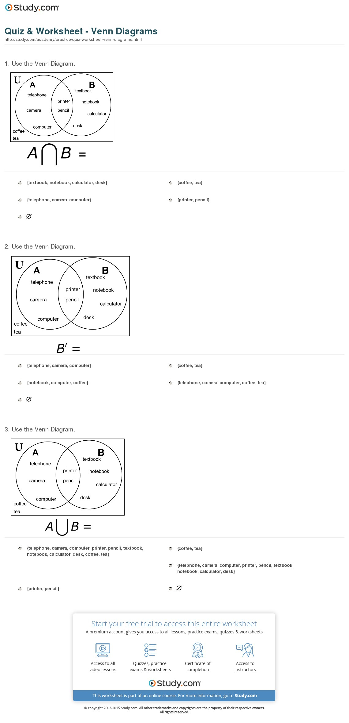 Venn Diagram Worksheet Quiz Worksheet Venn Diagrams Study