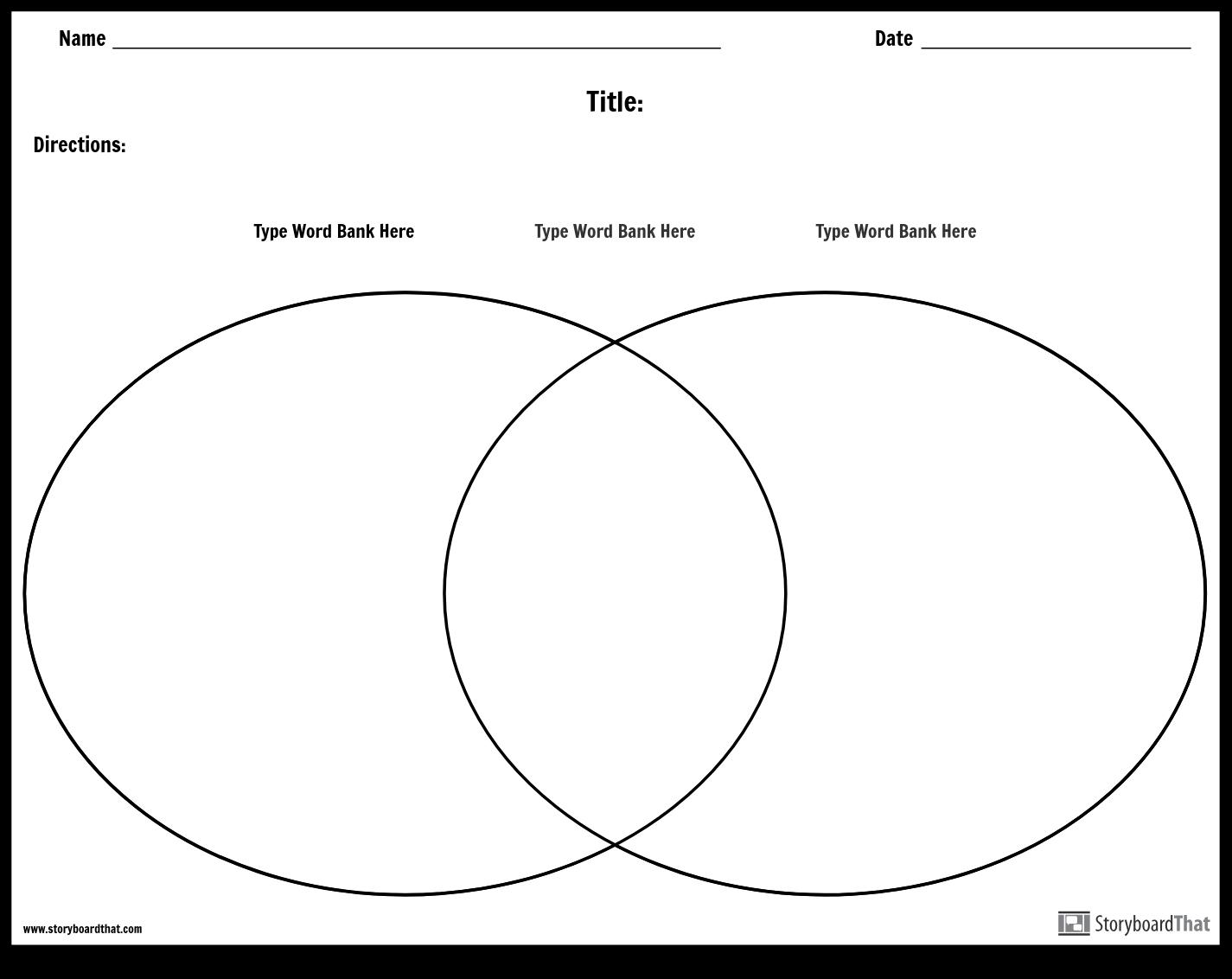 Venn Diagram Worksheet Venn Diagram Template Landscape Storyboard Worksheet Templates
