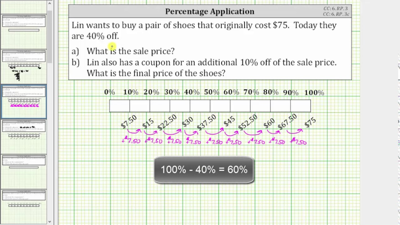 What Is A Bar Diagram Percent Application Determine A Sale Price Using A Tape Bar Diagram Cc6rp3