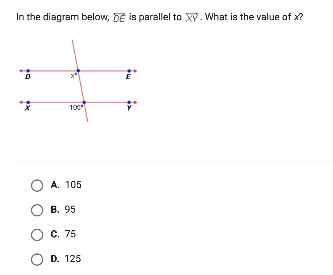 What Is A Diagram In The Diagram Below De Is Parallel To Xy What Is The Value Of X