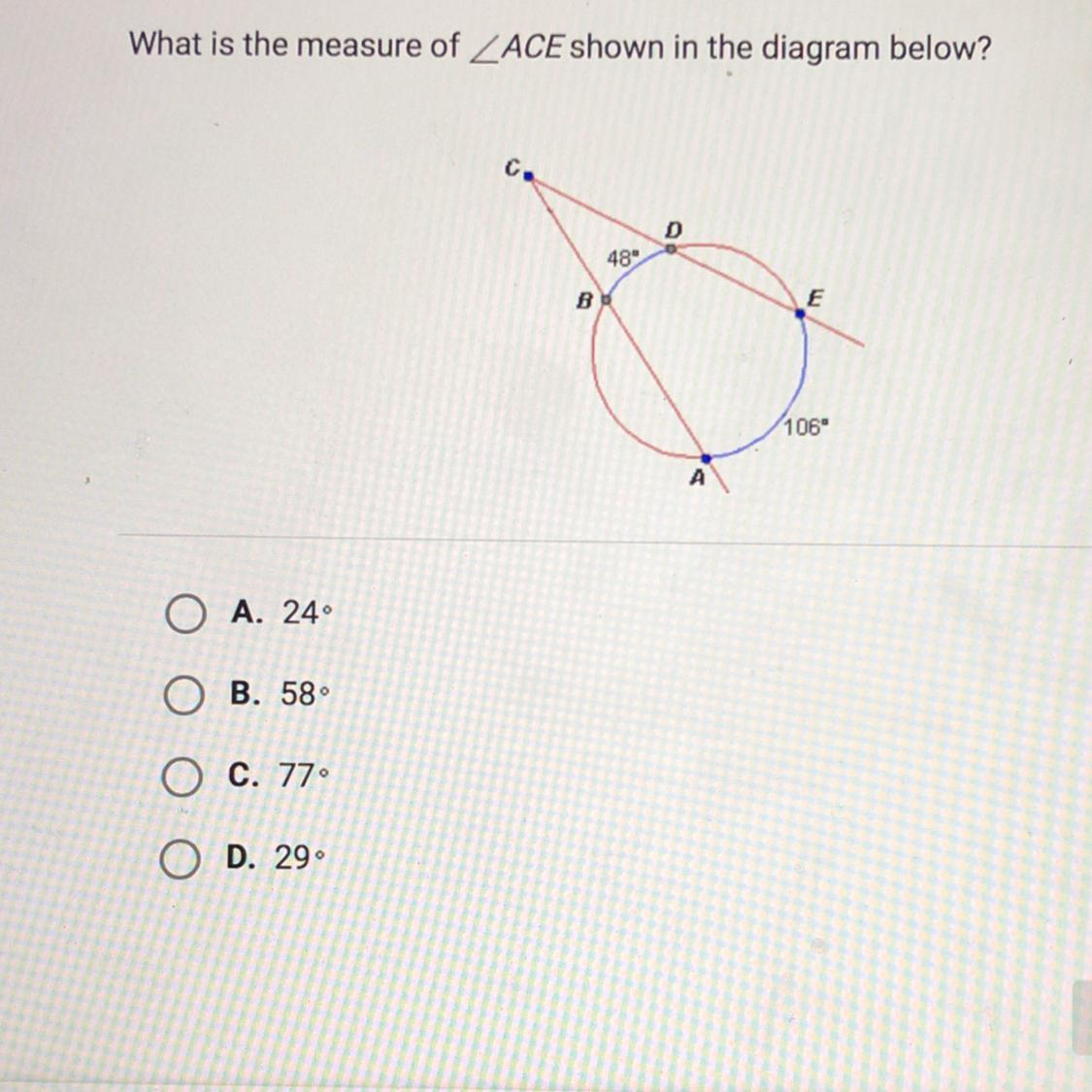 What Is A Diagram What Is The Measure Of Ace Shown In The Diagram Below Brainly