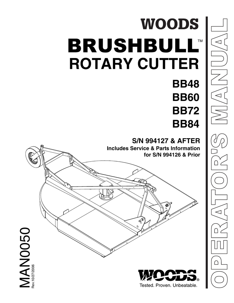 Woods Mower Parts Diagrams Operators And Parts Manual For The Woods 72 Brushbull Mower